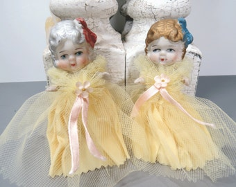 2 Bisque Flower Girl Dolls, Silver, Copper Hair, Twins, Sisters, Vintage Frozen Charlotte, Movable, Jointed Arms, Wedding
