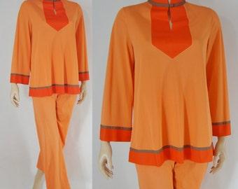 Vintage Sixties Pajamas - 1960s Mandarin Pajamas - 60s Orange Asian Inspired Lingerie - Pin Up Lingerie - Pin Up Pajamas