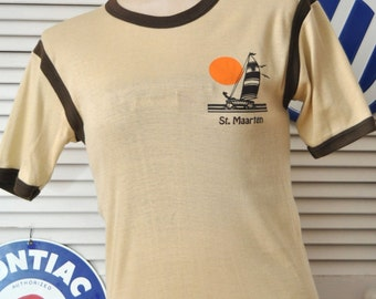 Vintage 70s St. Maarten Ringer T-shirt/Mens Womens Teen Youth/Tan & Brown/Poly-Cotton/Surfer Souvenir Sailboat/Large/Beach Resort Vacation/