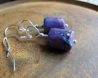 kingman mohave purple turquoise earrings. COSMOS. sterling silver earrings. genuine Arizona turquoise. purple earrings. mohave turquoise.