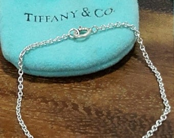 Authentic Vintage Like New TIFFANY & CO 925 Sterling Silver Baby Bracelet with Hallmarked Heart - baby jewelry comes with pouch, Singapore