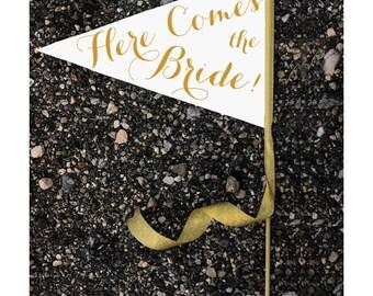 Here Comes The Bride Sign - Large Pennant Flag Wedding Banner Flower Girl Ring Bearer | Modern Script Copper & Gold Glitter Metallic 1002 LW