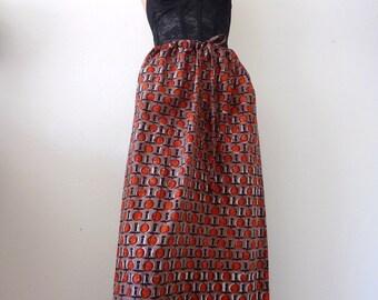 Vintage Ethnic Batik Maxi Skirt - African veritable wax print cotton skirt with drawstring waist
