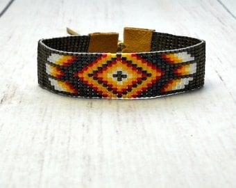 Tribal Seed Bead Bracelet - Bohemian Loom Bracelet - Beaded Bracelet - Gift Ideas - Bohemian Bead Bracelet - Rust Bead Bracelet