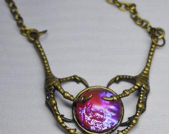 Collar de garra de dragón Steampunk, aliento de dragón, Dragon claw, ópalo mexicano, Wicca colgante, colgante pagano, regalo de Navidad,