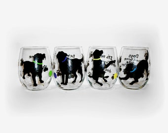 Black Labs Silhouettes Hand Painted Stemless Wine Glasses Set of 4 - 20 oz.  Stemless Wine Glasses Painted Glassware Made To Order