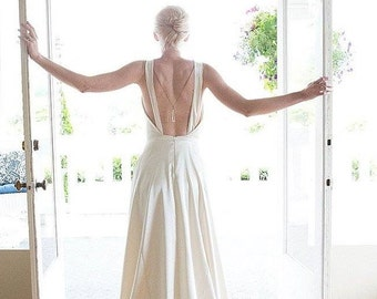 Backless Wedding Dress, 1930, 1920, Art Deco, SYMPHONY, Satin with Train, Colors Available