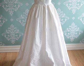 Low Back Silk Wedding Dress, Sleeves, HADLEY, Colors, Pockets, Train