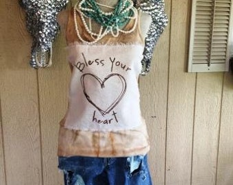 Bless Your Heart Tank Top Shabby Chic Rodeo Country Southern Western Sayings Custom Unique