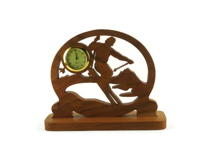 Male Ski Scene Desk Or Shelf Clock Handmade From Cherry Wood By KevsKrafts, Cross Country Skier, Downhill Skiing