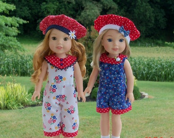 "PDF Sewing Pattern: SHORTY and SWEET/ Sewing Pattern for 14"" American Girl  Wellie Wishers®."