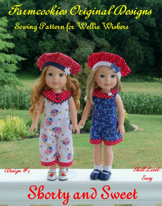 "PRINTED Sewing Pattern: SHORTY and SWEET/ Sewing Pattern for 14"" American Girl  Wellie Wishers®"