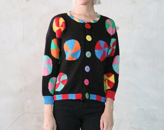 cardigan, sweater, 80s black cropped knit jumper w/  colorful candy swirl pattern, button front knit cardigan, womens medium m