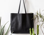 Textured Large Black Leather Tote bag No. Ltb-1509
