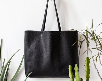 Xmas in July SALE Textured Large Black Leather Tote bag No. Ltb-1509