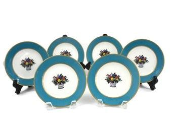 French Limoges Plates -- SET of 6, Bread & Butter Plates, Art Nouveau, Antique Porcelain Plates, C. Ahrenfeldt Plates for Gumps, c.1906