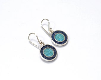 Sterling Silver Earrings, Circles Earrings, Blue and Turquoise, Circles, Dangle, Modern, Contemporary