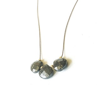 Pyrite Necklace, Gold Pyrite Necklace, Gold Pyrite Silk Cord Necklace, Pyrite Silk Cord Necklace, Pyrite Cord Necklace, Pyrite