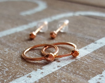 18 gauge Copper Hoops and Ball Post Stud Earrings, Artisan Jewelry, 10mm Hoops