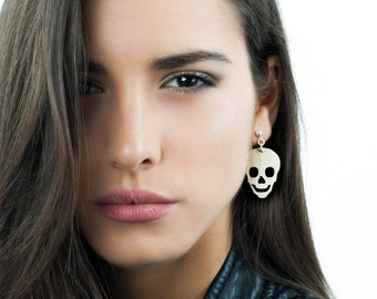 Skull earrings, Skull stud earrings, dangle earrings, wood skull earrings, long earrings, silver earrings, woman earrings, jewelry fashion