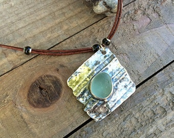 Genuine Sea Glass Necklace Bezel Set in Fine and Argentium Sterling Silver on Genuine Leather