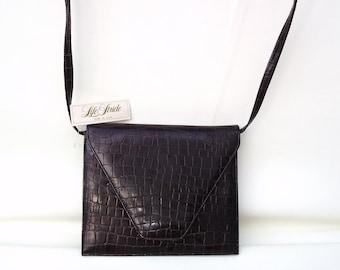 Vintage Envelope Bag, Shoulder Bag, Faux Crocodile Handbag, Brown Vinyl Purse, Life Stride Handbag
