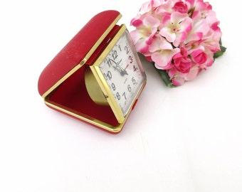 Vintage Travel Clock | Wind up Alarm Clock | Seth Thomas Clock | Red Box | Bedside Clock - Works
