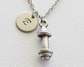 Barbell Initial Necklace 3D Charm Dumbbell Weight Lifting Exercise Gym Sport Gift Jewelry Silver Necklace Personalized Monogram Hand Stamped