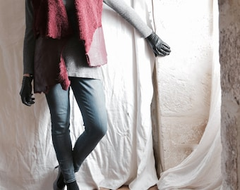 Shearling Sheepskin Vest in Bordeaux Burgundy Red - Asymmetric OOAK Ready to Ship as seen.