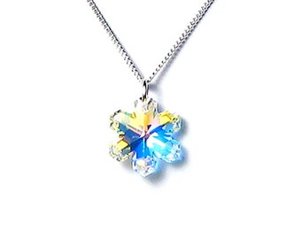 Snowflake Necklace, Swarovski Crystal Clear AB Snowflake, Silver Pendant Necklace, Frozen, Christmas Jewelry, Sisters, Lovely Gift For Her
