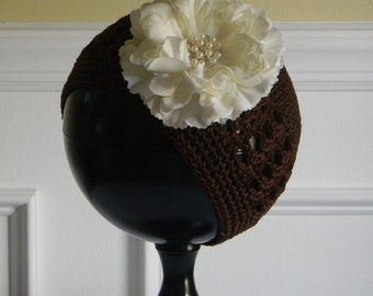"Brown Crocheted Beanie Hat for 3-6Yr w/ 4"" Ivory Flower & Rhinestone Center on Alligator Clip Photo Prop Birthday Fall Back to School Hat"