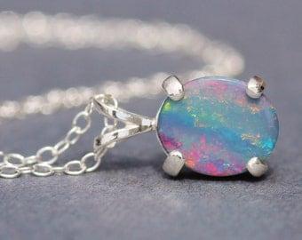 INCREDIBLE FIRE Australian Boulder Opal Doublet Gemstone Necklace,Sterling Silver Gemstone Pendant Necklace,October Birthstone,Rainbow Opal