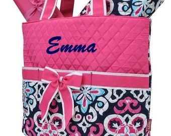 Personalized Diaper Bag Girl Diaper Bag Hot Pink Navy Monogrammed