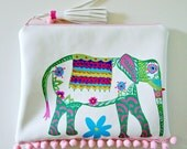 clutch bag hand painted bags elephant art pompom bag boho chic tassel purse vegan leather bag