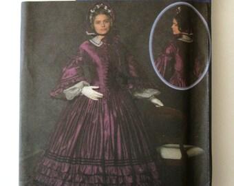 Victorian Civil War Costume Pattern Simplicity 4510 Womens Historical Basque Waist Antebellum Dress Sewing Pattern Sz 16-24 Bust 38-46 UNCUT