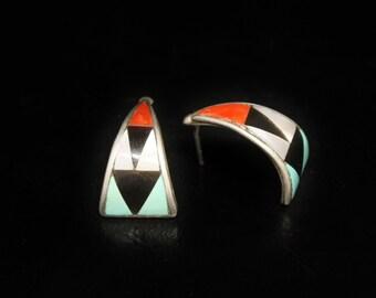 "Zuni Inlay Sterling Earrings 4/5"" Long Signed Mary Ann & Zeno Edaaki"