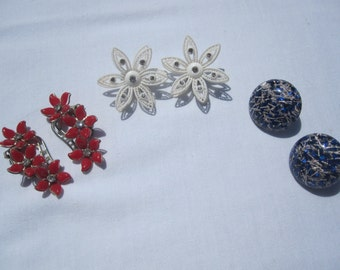 Trio of Clip Earrings Red Flowers, White Flowers and Blue Confetti