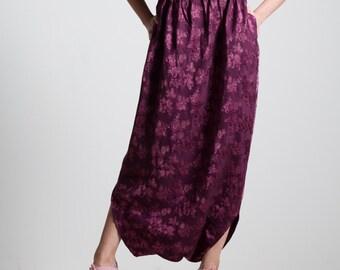 Silk skirt trousers, purple skirt trousers, pink flowers skirt, harem shape, ribbon waist skirt, upcycled skirt, one of a kind skirt