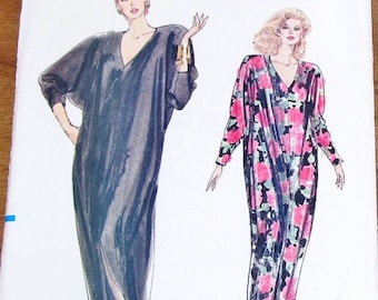 Easy Vintage 1980s Sewing Pattern Vogue 7401 Evening Caftan Maxi Dress Womens Miss Size 6 8 10 12 14 Bust 30 31 32 34 36 Uncut Factory Folds