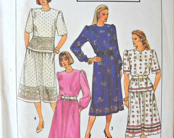 Simplicity 9310, Misses/Miss Petite Two Piece Dress pattern, sizes 14-20, Vintage 1989
