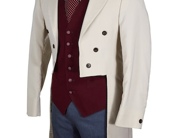 Tuxedo Tail 38 Regular Elegant Men's Dinner  Jacket with Brown Satin Trim and Two-Tone Buttons
