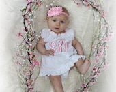 Monogram Girl Dress Newborn Baby Girl Clothes Newborn Girl Take Home Outfit  Shabby Chic White Pink Dress New Baby Gift