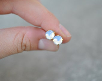 White Opal Earrings Swarovski Crystal RARE Vintage Cabochon Super Sparklers Small Dome Earrings Mashugana