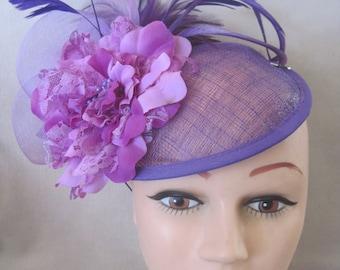 Sensational Lavender n Purple Flowered n Feathered Fascinator