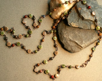 Necklace, Beaded Copper Chain - Extra Long