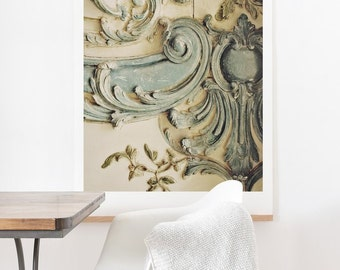 Blue Lace Versailles ready-to-hang oversized art print, Christmas gift Paris French rococo home decor, housewarming gift apartment decor