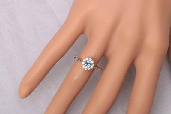 Blue Sapphire Engagement Ring Flower Design Gemstone Engagement Ring or Wedding Anniversary Ring