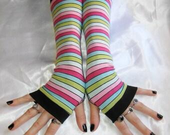 Rainbow Arm Warmer Thumb hole Fingerless glove arm sleeve sleeves gothic goth burlesque bohemian gypsy rainbows cybergoth kawaii lolita emo