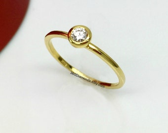 Solitaire diamond ring, tiny diamond ring, gold engagement ring, thin diamond band, gold anniversary ring, gold promise ring, 14k solid gold