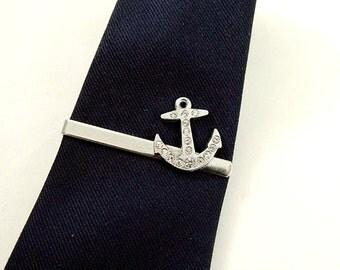 Tie Bar Tie Clip,  Nautical Rhinestone Silver Anchor  Mens Accessories  Handmade